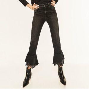 Zara High Rise Ruffle Lace Kick Flare Jeans Black
